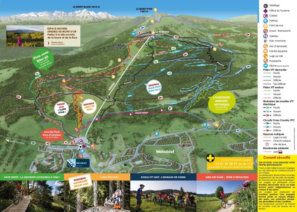 Plan Pistes VTT Mont D'Or Métabief