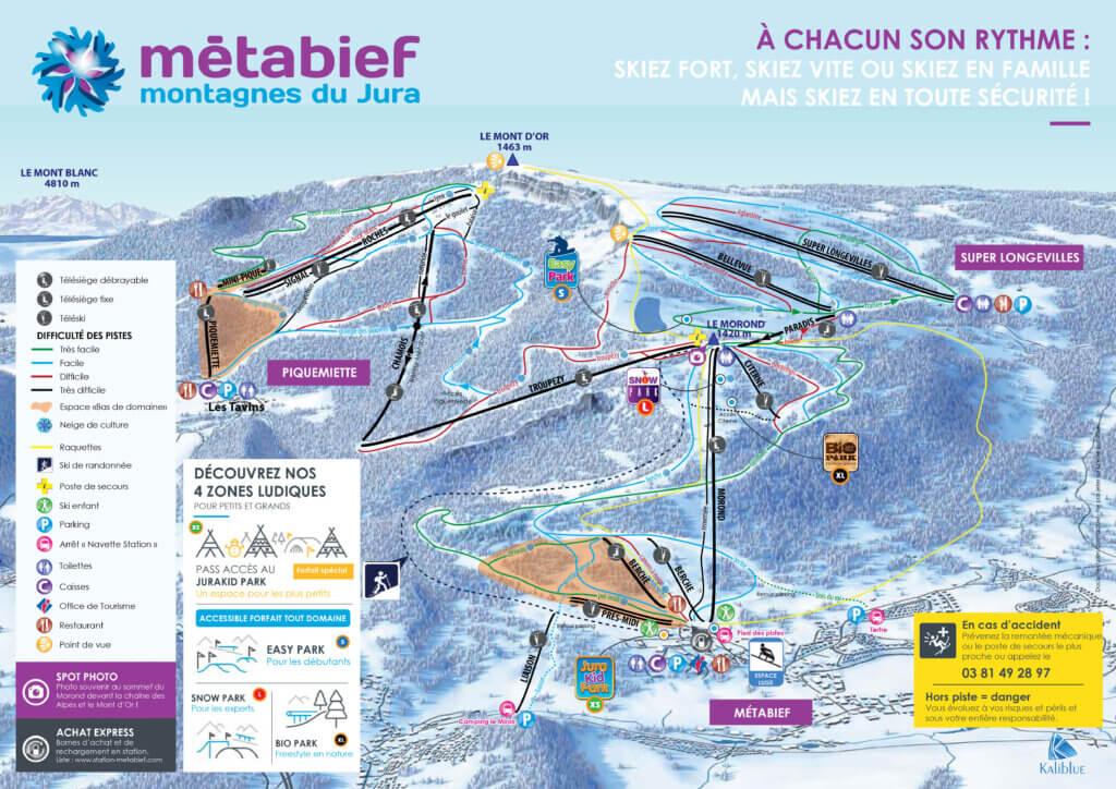 Plan Pistes Ski Mont d'Or Domaine Skiable Métabief Hiver